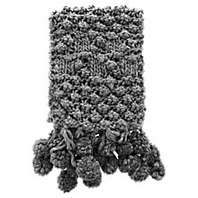 Buy Warehouse Multi Pom Pom Scarf, Dark Grey Online at johnlewis.com