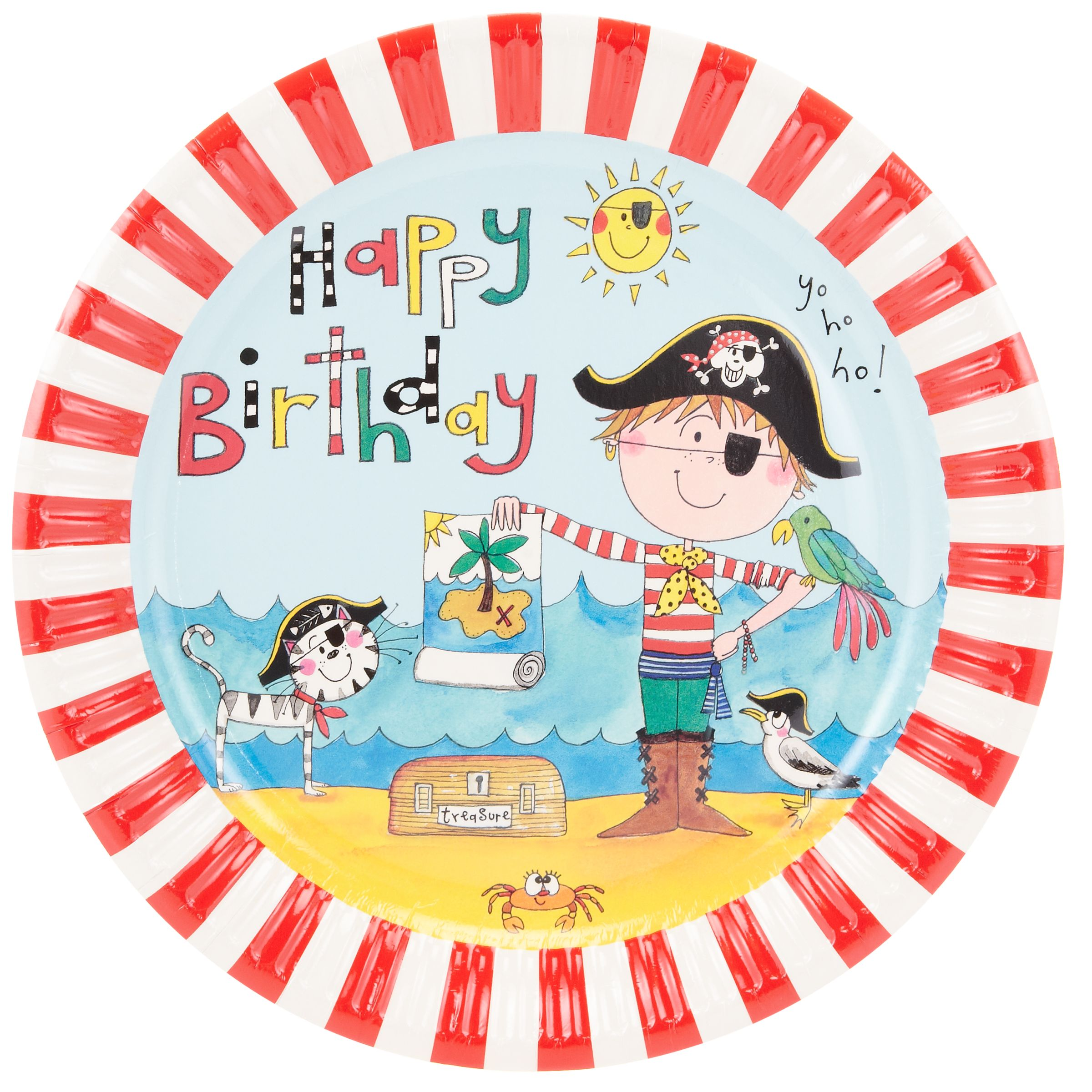 Rachel Ellen Pirate Plates, Multi, Pack Of 8