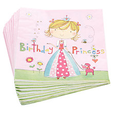 Buy Rachel Ellen Princess Paper Napkins, Pink, Pack Of 20 Online at johnlewis.com