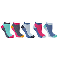 Buy John Lewis Colour Block Trainer Socks, Multi, Pack of 5 Online at johnlewis.com