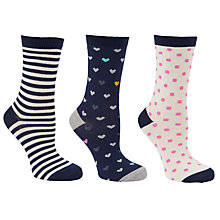 Buy John Lewis Stripe Heart & Dot Print Cotton Mix Ankle Socks, Navy/Multi, Pack of 3 Online at johnlewis.com