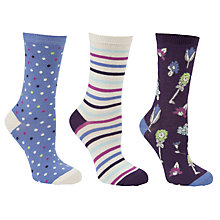 Buy John Lewis Daisychain Print Spot Pattern Cotton Ankle Socks, Pack of 3 Online at johnlewis.com