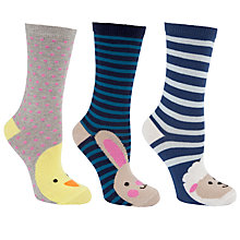 Buy John Lewis Novelty Animal Ankle Socks, Pack of 3, Multi Online at johnlewis.com