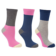 Buy John Lewis Colour Block Cotton Mix Ankle Socks, Multi, Pack of 3 Online at johnlewis.com