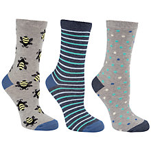 Buy John Lewis Bees Stripe & Dots Cotton Mix Ankle Socks, Grey Multi, Pack of 3 Online at johnlewis.com
