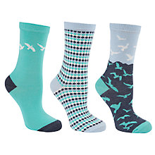 Buy John Lewis Bird Print Cotton Mix Ankle Socks, Green Multi, Pack of 3 Online at johnlewis.com