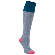 Buy John Lewis Ribbed Texture Knee High Socks, Blue/Pink Online at johnlewis.com