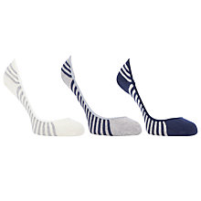 Buy John Lewis Low Rise Striped Trainer Socks, Multi, Pack of 3 Online at johnlewis.com