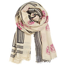Buy Becksöndergaard Bahera Silk & Wool Mix Scarf, Cream Online at johnlewis.com