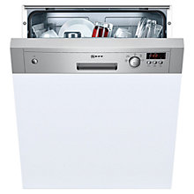 Buy Neff S41E50N0GB Semi-Integrated Dishwasher, Stainless Steel and White Online at johnlewis.com