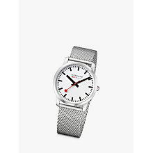 Buy Mondaine A6383035016SBM Unisex Mesh Bracelet Strap Watch, Silver/White Online at johnlewis.com