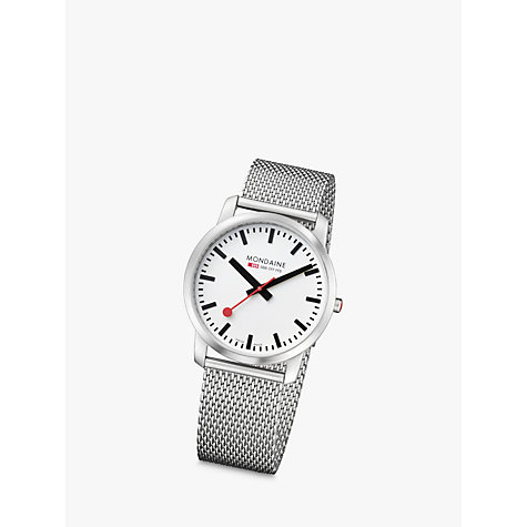 Buy Mondaine A638.30350.16SBM Men's Simply Elegant Mesh Strap Watch, Silver Online at johnlewis.com