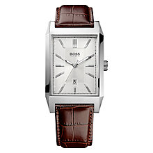 Buy BOSS 21512916 Men's Date Display Rectangular Bracelet Strap Watch, Brown Online at johnlewis.com