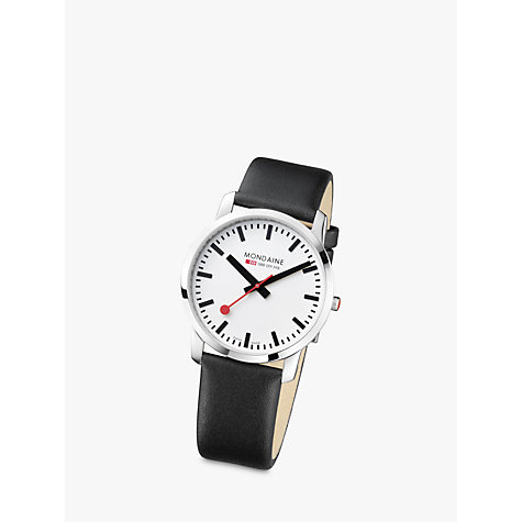 Buy Mondaine Men's Simply Elegant Leather Strap Watch Online at johnlewis.com