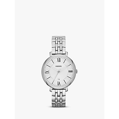 Fossil ES3433 Women's Jacqueline Bracelet Strap Watch, Silver/White