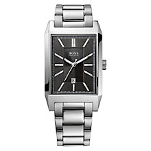 Buy BOSS Men's Date Display Rectangular Bracelet Strap Watch Online at johnlewis.com
