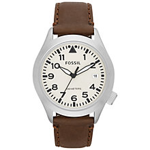 Buy Fossil Men's Aeroflite Three-Hand Coloured Round Dial Leather Strap Watch Online at johnlewis.com