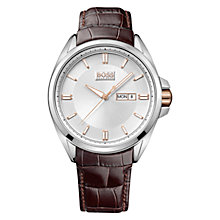 Buy Hugo Boss Men's Sunburst Date Dial Leather Strap Watch Online at johnlewis.com