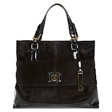 Buy Hobbs London Brogue Victoria Suede Bag, Black Online at johnlewis.com