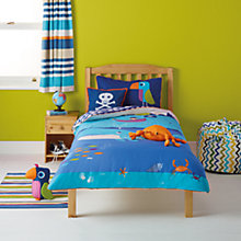 Buy little home at John Lewis Waves & Whales Spouting Whales Single Duvet Cover and Pillowcase Set Online at johnlewis.com