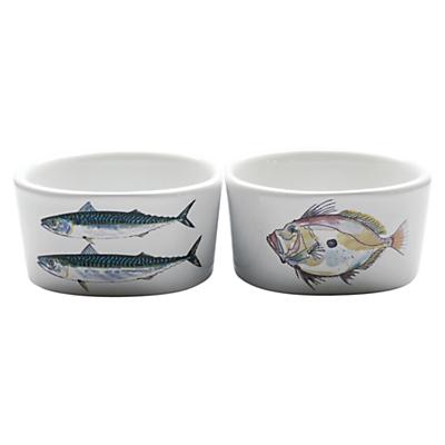 Jersey Pottery Fruits de Mer Fish Ramekin, Set of 2