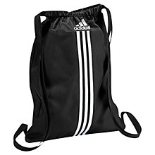 Buy Adidas Essential 3-Stripes Gymbag, Black/White Online at johnlewis.com
