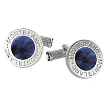 Buy Montblanc Round Onyx Stainless Steel Cufflinks, Blue/Silver Online at johnlewis.com