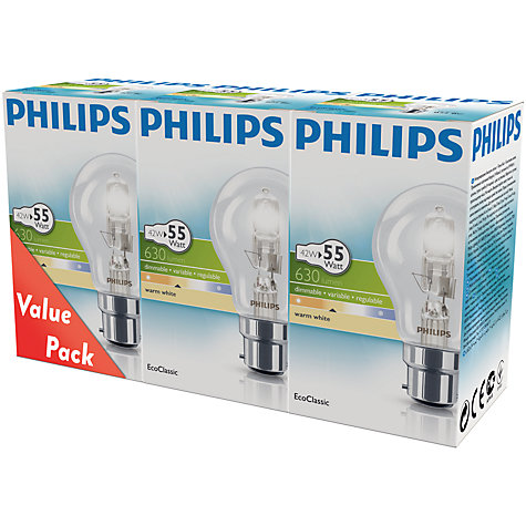Buy Philips 42W BC Eco Halogen Classic Bulb, Pack of 3 Online at johnlewis.com
