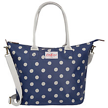 Buy Cath Kidston Button Spot Tall Zipped Tote, Blue Online at johnlewis.com