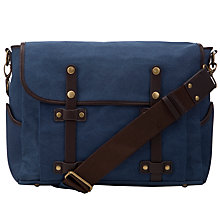 Buy JOHN LEWIS & Co. Canvas Satchel, Navy Online at johnlewis.com