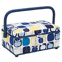 Buy John Lewis Apples Sewing Basket with accessories, Blue Multi Online at johnlewis.com