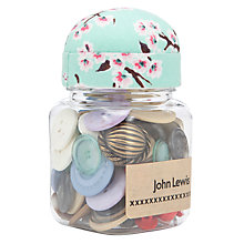 Buy John Lewis Blossom Button Jar, Blue/Pink Online at johnlewis.com