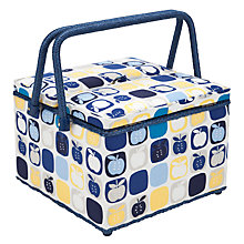 Buy John Lewis Apples Twin Lid Basket, Blue Multi Online at johnlewis.com