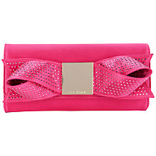 Buy Ted Baker Bowsie Satin Bow Clutch, Pink Online at johnlewis.com