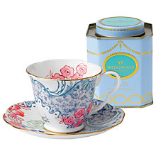 Buy Wedgwood Butterfly Bloom Cup and Saucer Set, Pink/Blue + FREE Tea Caddy Online at johnlewis.com