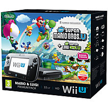 Buy Nintendo Wii U 32GB Premium Pack with New Super Mario Bros. & New Super Luigi U, Sensor Bar and Accessories, Black Online at johnlewis.com
