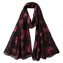 Buy East Rosa Bird Print Scarf, Black Online at johnlewis.com