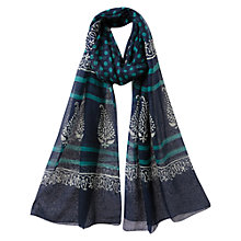 Buy East Madison Handblock Scarf, Indigo Online at johnlewis.com