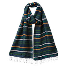 Buy East Silk Stripe Scarf, Navy Online at johnlewis.com