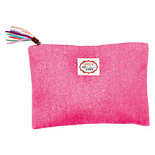 Buy Avoca Herringbone Make-Up Pouch, Pink Online at johnlewis.com