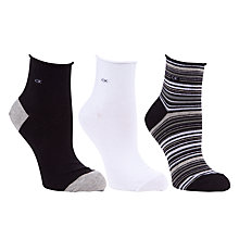 Buy Calvin Klein Stripe Roll Top Ankle Socks, Pack of 3 Online at johnlewis.com