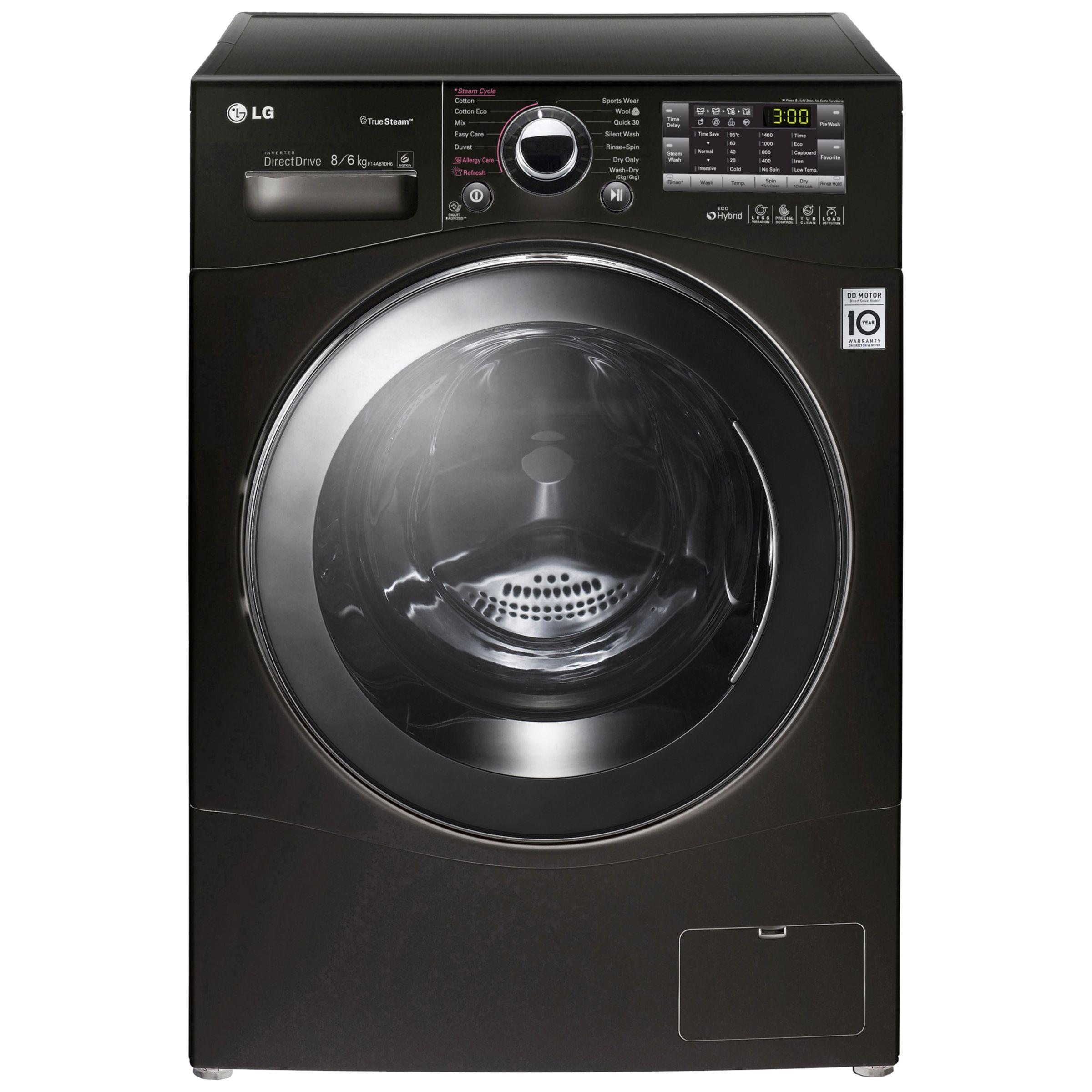 lg f14a8yd washer dryer 8kg wash6kg dry load a energy rating 1400rpm spin black. Black Bedroom Furniture Sets. Home Design Ideas