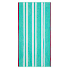 Buy John Lewis The Basics Border Stripe Beach Towel, Aqua / Pink Online at johnlewis.com