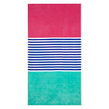 Buy John Lewis The Basics Block Stripe Beach Towel, Aqua / Pink Online at johnlewis.com
