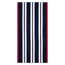 Buy John Lewis The Basics Border Stripe Beach Towel, Red / Navy Online at johnlewis.com