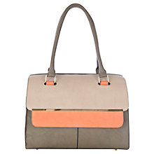 Buy Warehouse Metal Bar Flap Top Tote, Light Grey Online at johnlewis.com