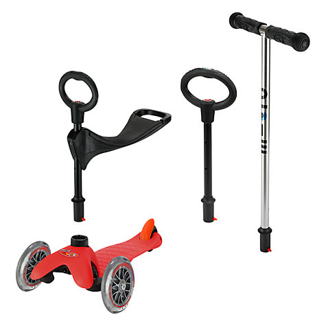 Buy Micro Scooters Mini Micro 3-in-1 Scooter with Seat and O-Bar Handle, Red Online at johnlewis.com