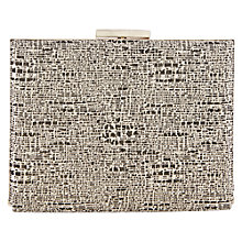 Buy Warehouse Jacquard '50s Frame Clutch, Gold Colour Online at johnlewis.com