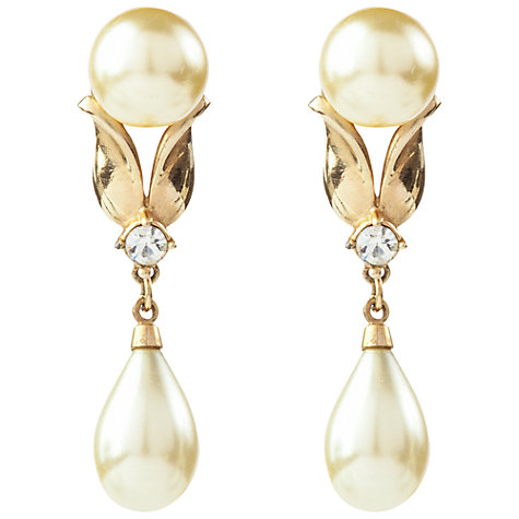 Buy Susan Caplan Vintage 1950s Pennino Gold Plated Faux Pearl Drop Clip-On Earrings Online at johnlewis.com