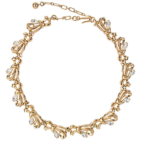 Buy Susan Caplan Vintage 1960s Trifari Gold Plated Swarovski Bow Statement Necklace Online at johnlewis.com